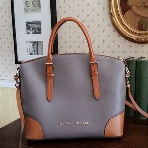 Dooney & Bourke Taupe Pebble Leather Domed Satchel